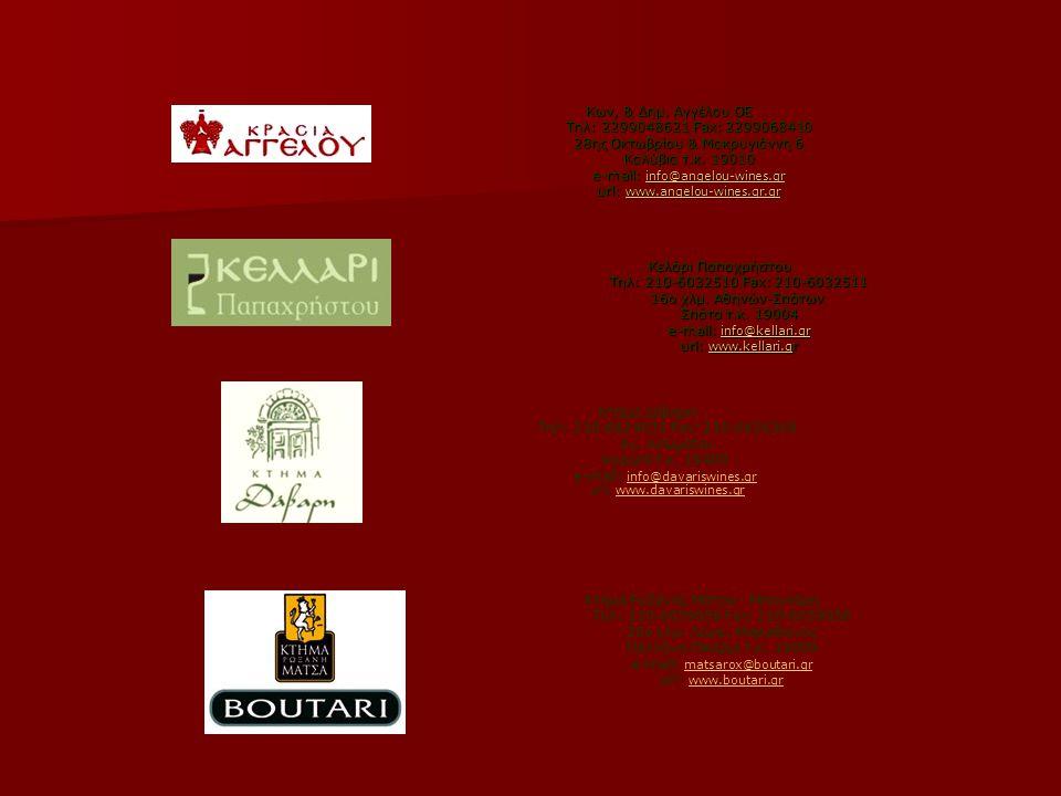 Κων, & Δημ. Αγγέλου ΟΕ Τηλ: 2299048621 Fax: 2299068410 28ης Οκτωβρίου & Μακρυγιάννη 6 Καλύβια τ.κ. 19010 e-mail: info@angelou-wines.gr url: www.angelou-wines.gr.gr