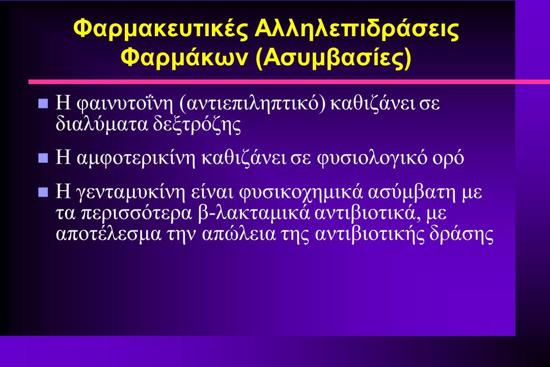 Φαρμακευτικές Αλληλεπιδράσεις Φαρμάκων (Ασυμβασίες)