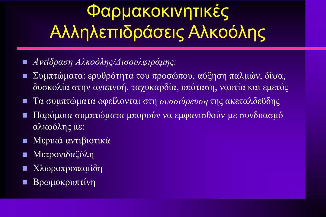 Φαρμακοκινητικές Αλληλεπιδράσεις Αλκοόλης