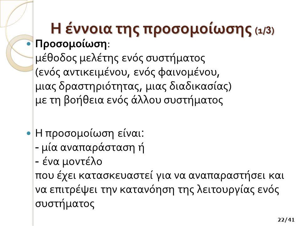 Η έννοια της προσομοίωσης (1/3)