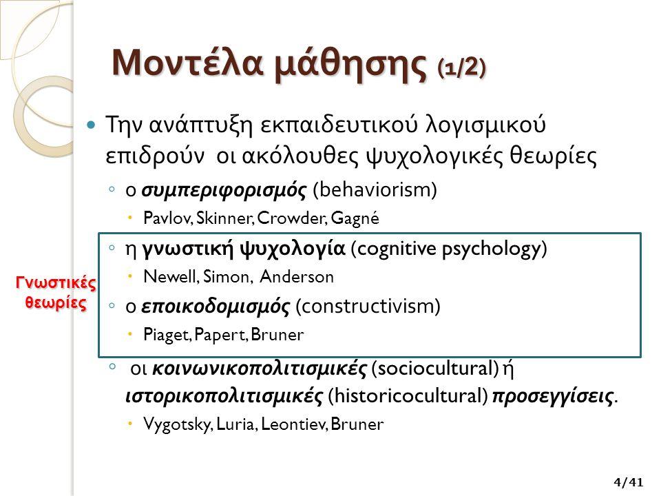 Μοντέλα μάθησης (1/2) Την ανάπτυξη εκπαιδευτικού λογισμικού επιδρούν οι ακόλουθες ψυχολογικές θεωρίες.