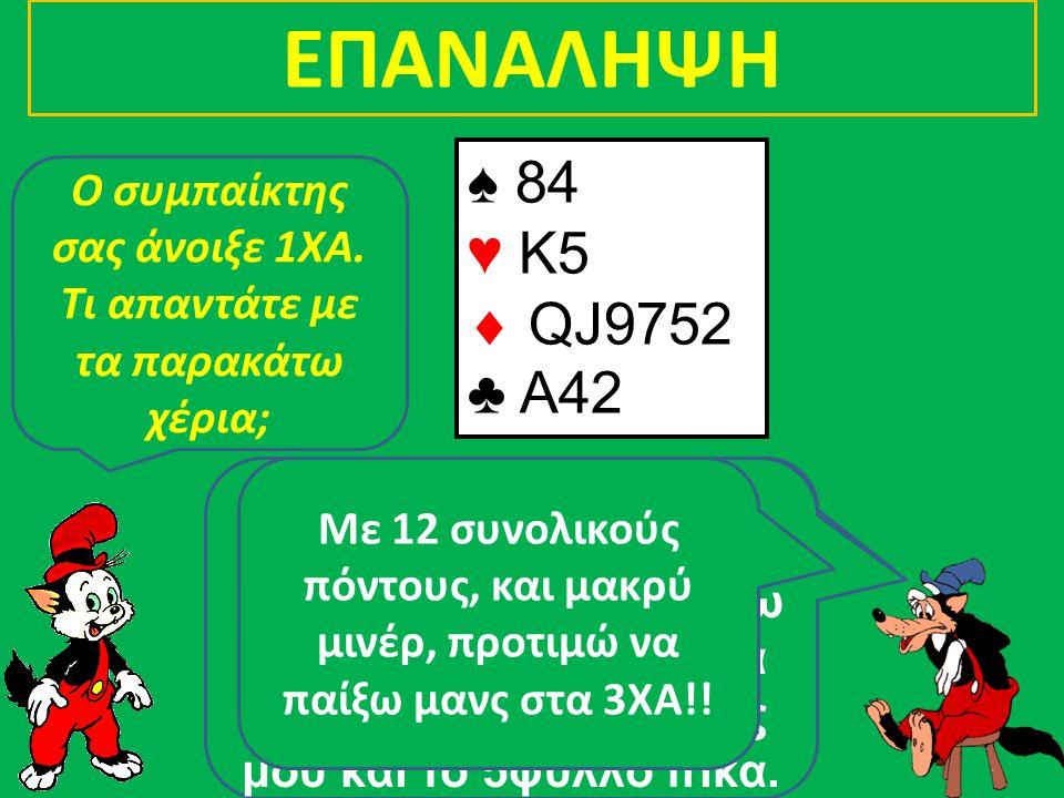 ΕΠΑΝΑΛΗΨΗ ♠ KJ983 ♥ A64  73 ♣ Q94 ♠ 84 ♥ K5  QJ9752 ♣ A42 ♠ K9 ♥ QJ8