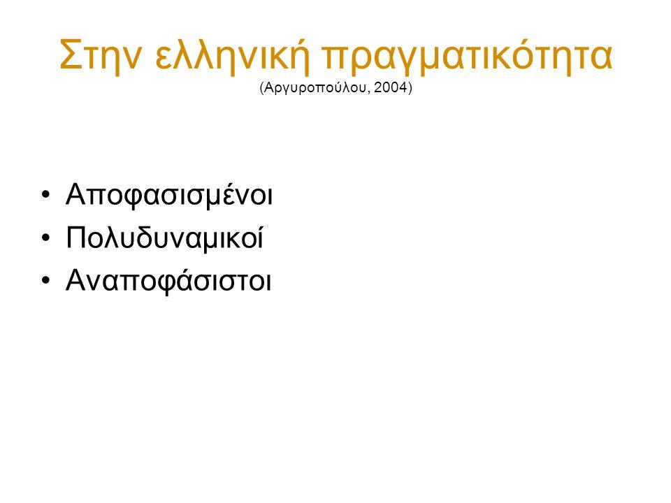 Στην ελληνική πραγματικότητα (Αργυροπούλου, 2004)