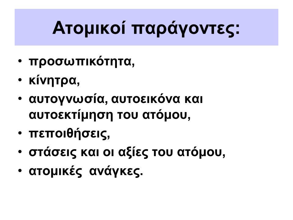 Ατομικοί παράγοντες: προσωπικότητα, κίνητρα,