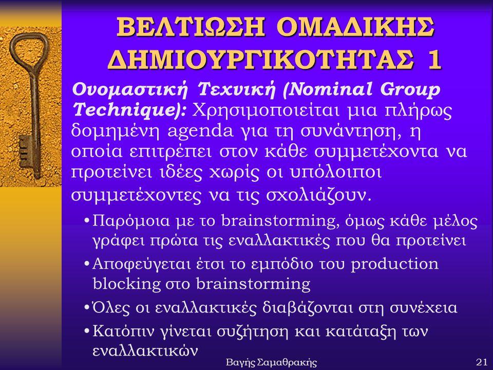 ΒΕΛΤΙΩΣΗ ΟΜΑΔΙΚΗΣ ΔΗΜΙΟΥΡΓΙΚΟΤΗΤΑΣ 1