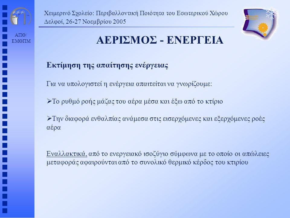 ΑΕΡΙΣΜΟΣ - ΕΝΕΡΓΕΙΑ Εκτίμηση της απαίτησης ενέργειας