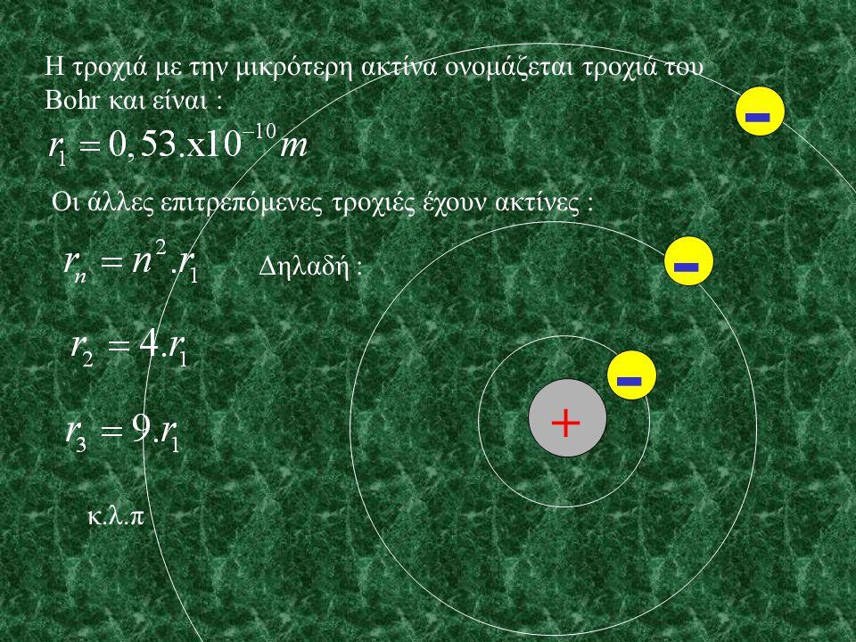 Η τροχιά με την μικρότερη ακτίνα ονομάζεται τροχιά του Bohr και είναι :