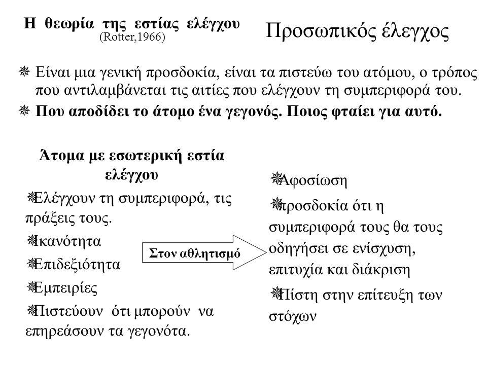 Προσωπικός έλεγχος Η θεωρία της εστίας ελέγχου (Rotter,1966)