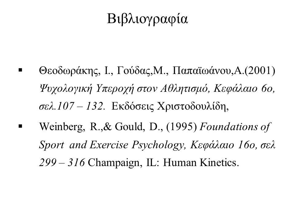 Βιβλιογραφία Θεοδωράκης, Ι., Γούδας,Μ., Παπαϊωάνου,Α.(2001) Ψυχολογική Υπεροχή στον Αθλητισμό, Κεφάλαιο 6ο, σελ.107 – 132. Εκδόσεις Χριστοδουλίδη,