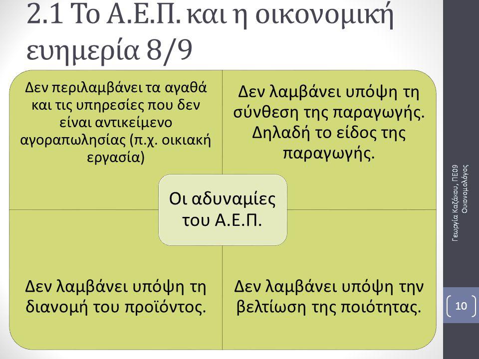 2.1 Το Α.Ε.Π. και η οικονομική ευημερία 8/9