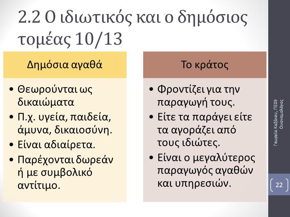 2.2 Ο ιδιωτικός και ο δημόσιος τομέας 10/13
