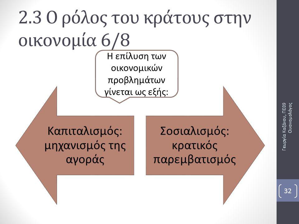 2.3 Ο ρόλος του κράτους στην οικονομία 6/8