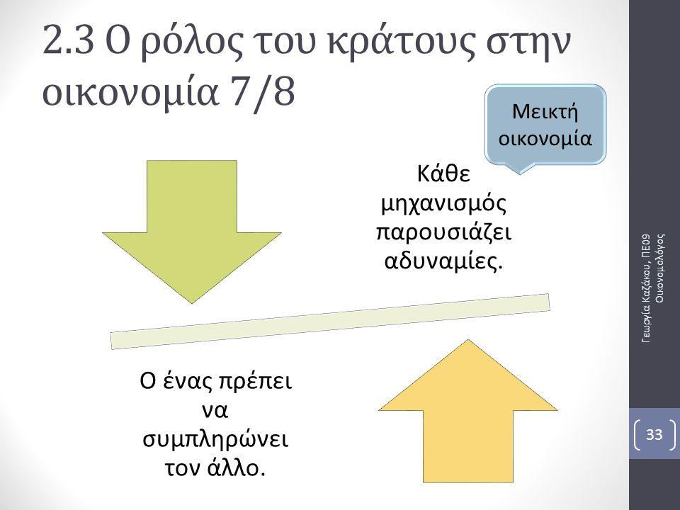 2.3 Ο ρόλος του κράτους στην οικονομία 7/8