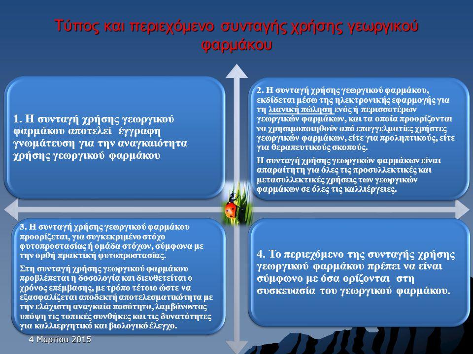 Τύπος και περιεχόμενο συνταγής χρήσης γεωργικού φαρμάκου