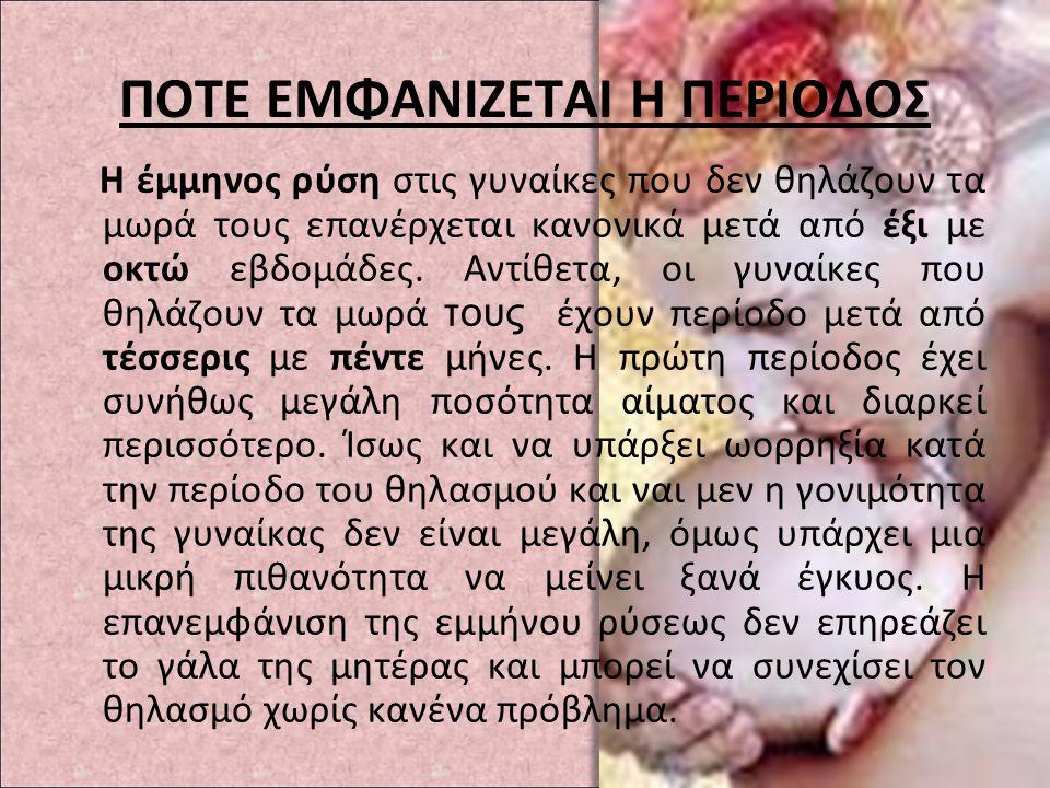 ΠΟΤΕ ΕΜΦΑΝΙΖΕΤΑΙ Η ΠΕΡΙΟΔΟΣ
