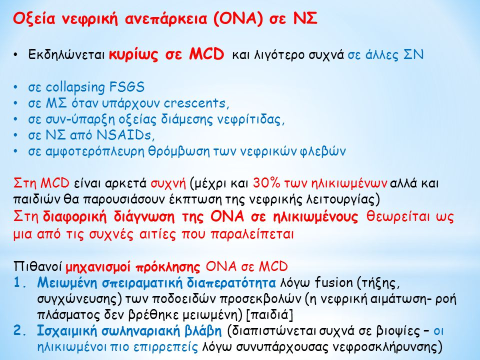 Οξεία νεφρική ανεπάρκεια (ΟΝΑ) σε ΝΣ