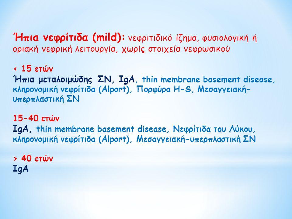 Ήπια νεφρίτιδα (mild): νεφριτιδικό ίζημα, φυσιολογική ή οριακή νεφρική λειτουργία, χωρίς στοιχεία νεφρωσικού
