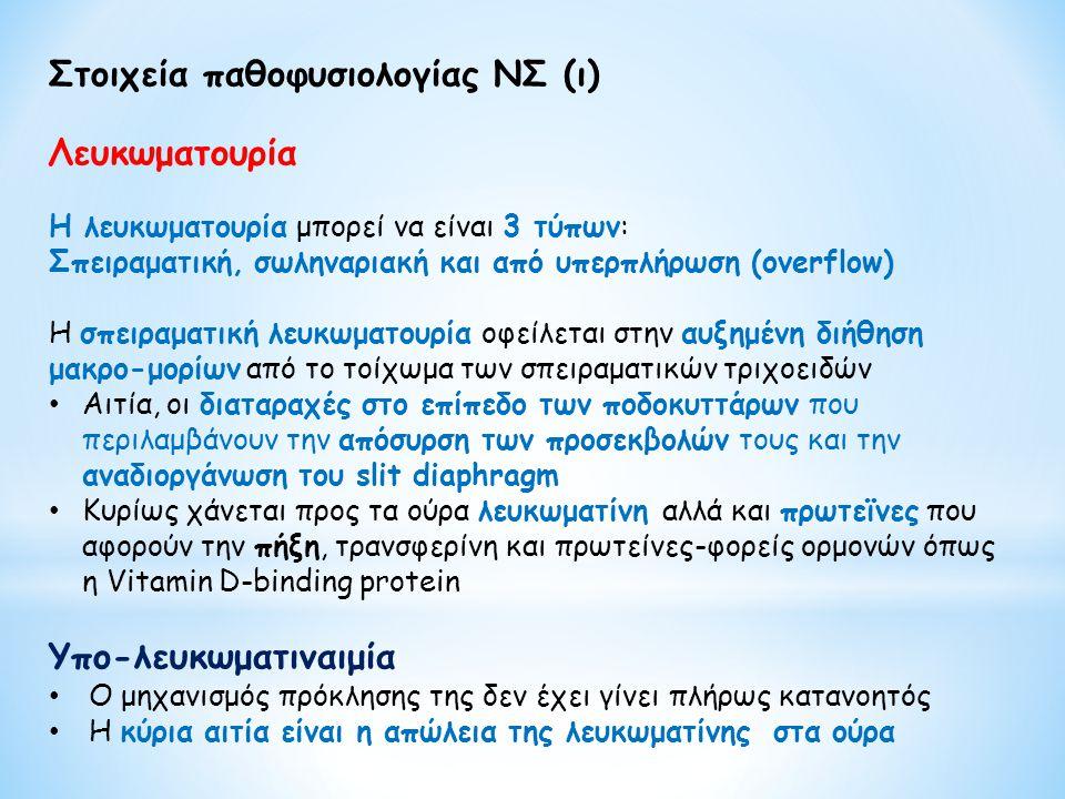 Στοιχεία παθοφυσιολογίας ΝΣ (ι) Λευκωματουρία