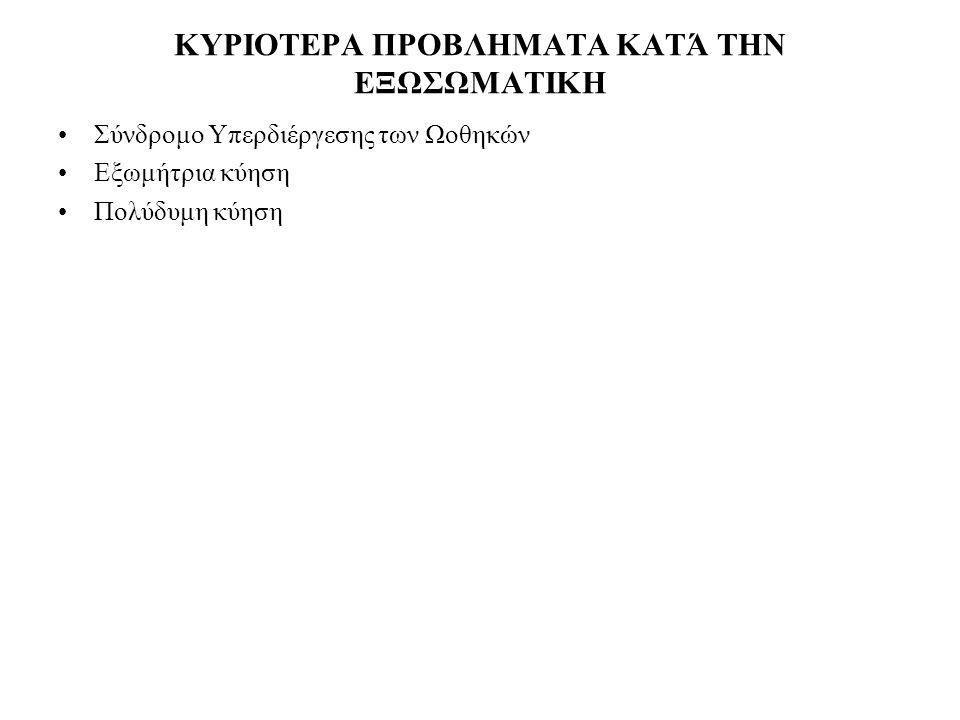 ΚΥΡΙΟΤΕΡΑ ΠΡΟΒΛΗΜΑΤΑ ΚΑΤΆ ΤΗΝ ΕΞΩΣΩΜΑΤΙΚΗ