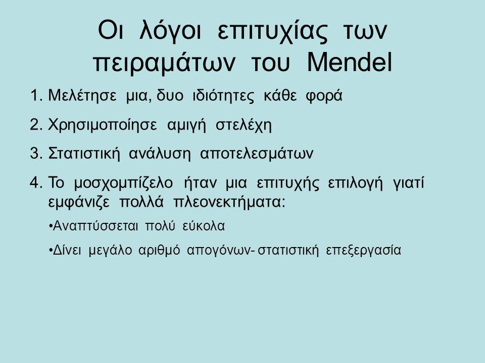 Οι λόγοι επιτυχίας των πειραμάτων του Mendel