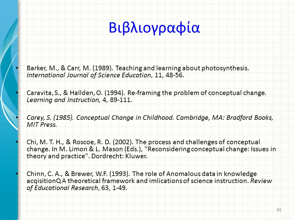 Βιβλιογραφία Barker, M., & Carr, M. (1989). Teaching and learning about photosynthesis. International Journal of Science Education, 11, 48-56.