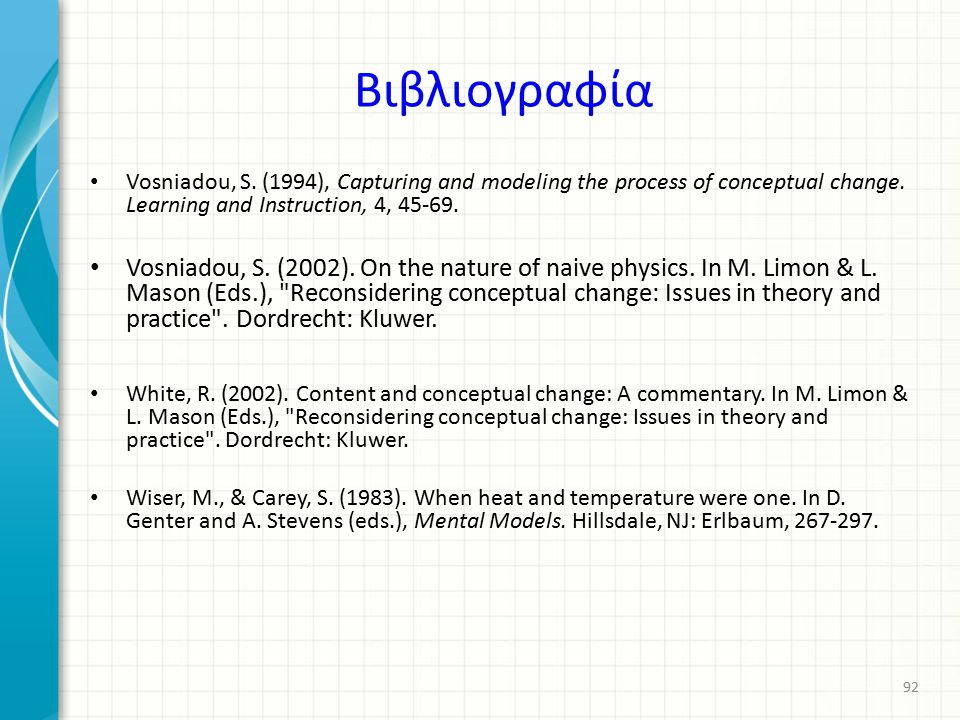 Βιβλιογραφία Vosniadou, S. (1994), Capturing and modeling the process of conceptual change. Learning and Instruction, 4, 45-69.
