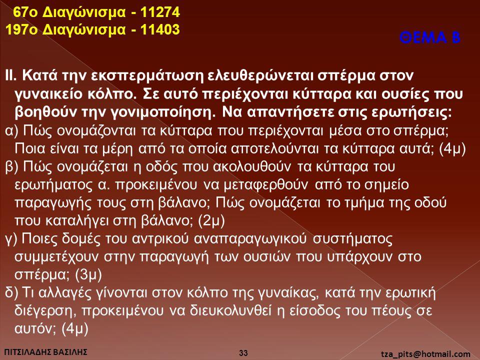 67o Διαγώνισμα - 11274 197o Διαγώνισμα - 11403. ΘΕΜΑ Β.