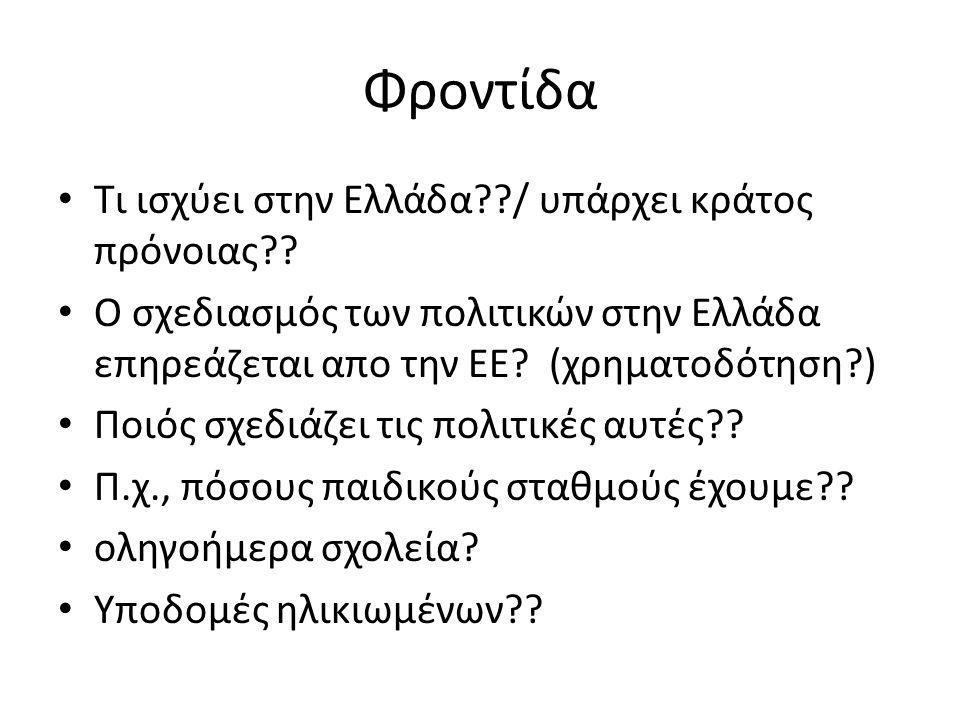 Φροντίδα Τι ισχύει στην Ελλάδα / υπάρχει κράτος πρόνοιας