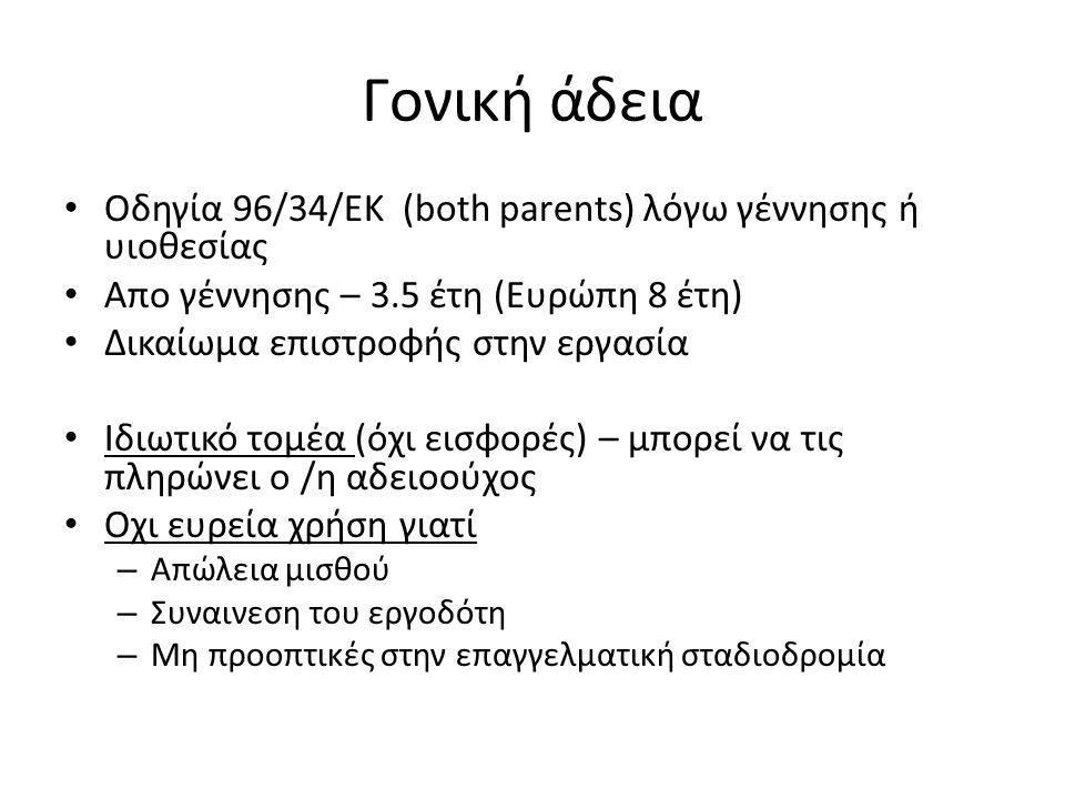 Γονική άδεια Οδηγία 96/34/ΕΚ (both parents) λόγω γέννησης ή υιοθεσίας
