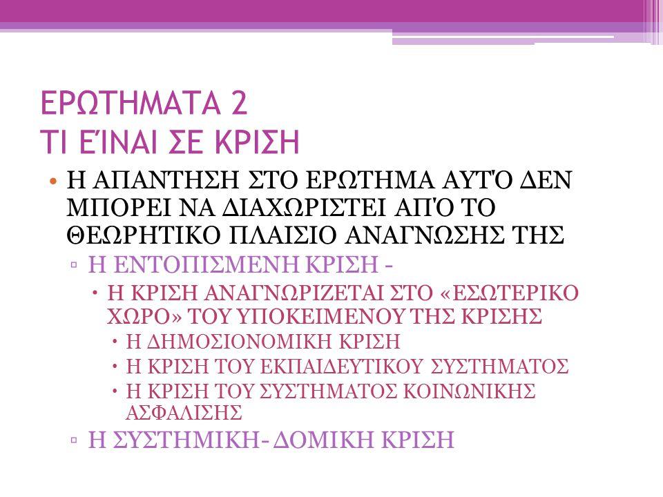 ΕΡΩΤΗΜΑΤΑ 2 ΤΙ ΕΊΝΑΙ ΣΕ ΚΡΙΣΗ