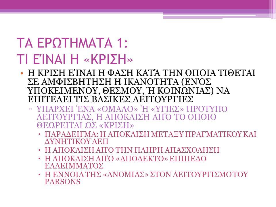 ΤΑ ΕΡΩΤΗΜΑΤΑ 1: ΤΙ ΕΊΝΑΙ Η «ΚΡΙΣΗ»