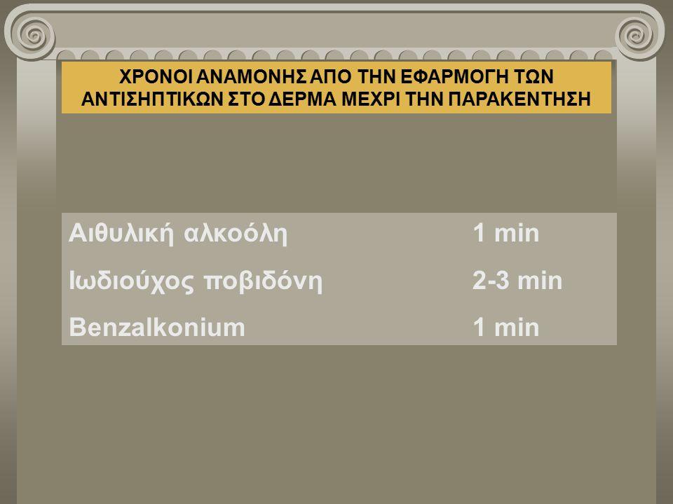 Ιωδιούχος ποβιδόνη 2-3 min Benzalkonium 1 min