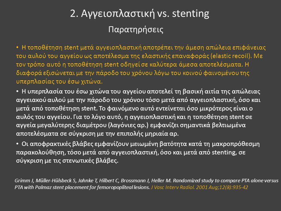 2. Αγγειοπλαστική vs. stenting