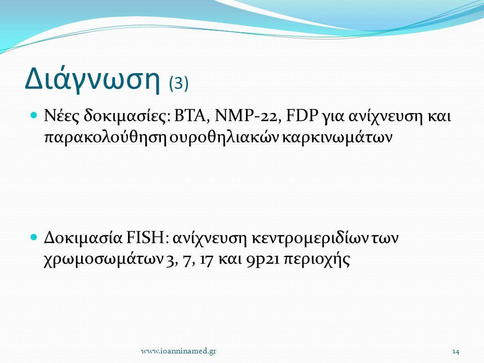 Διάγνωση (3) Νέες δοκιμασίες: BTA, NMP-22, FDP για ανίχνευση και παρακολούθηση ουροθηλιακών καρκινωμάτων.