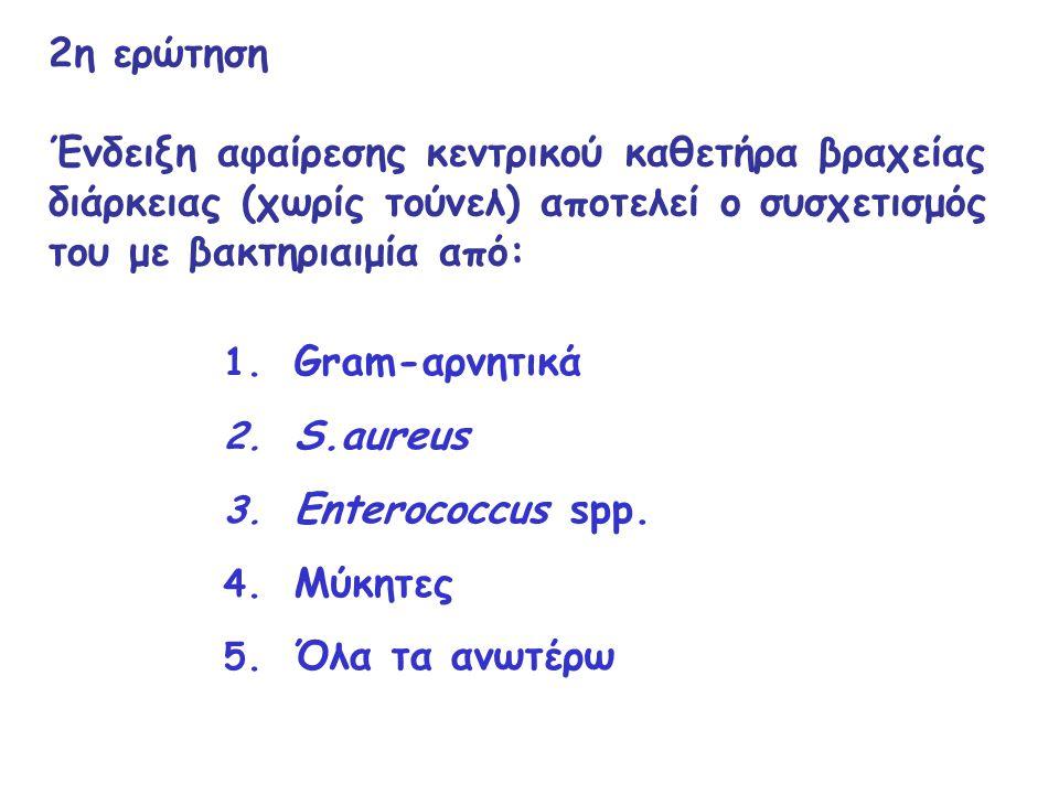 2η ερώτηση Ένδειξη αφαίρεσης κεντρικού καθετήρα βραχείας διάρκειας (χωρίς τούνελ) αποτελεί ο συσχετισμός του με βακτηριαιμία από: