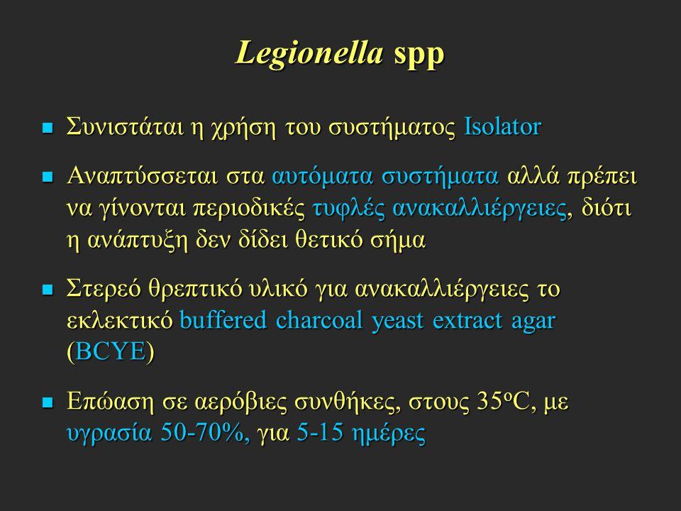 Legionella spp Συνιστάται η χρήση του συστήματος Isolator