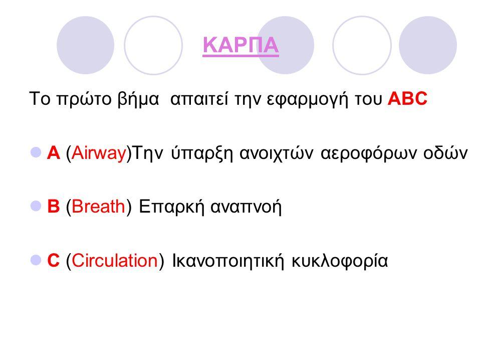 ΚΑΡΠΑ Το πρώτο βήμα απαιτεί την εφαρμογή του ABC