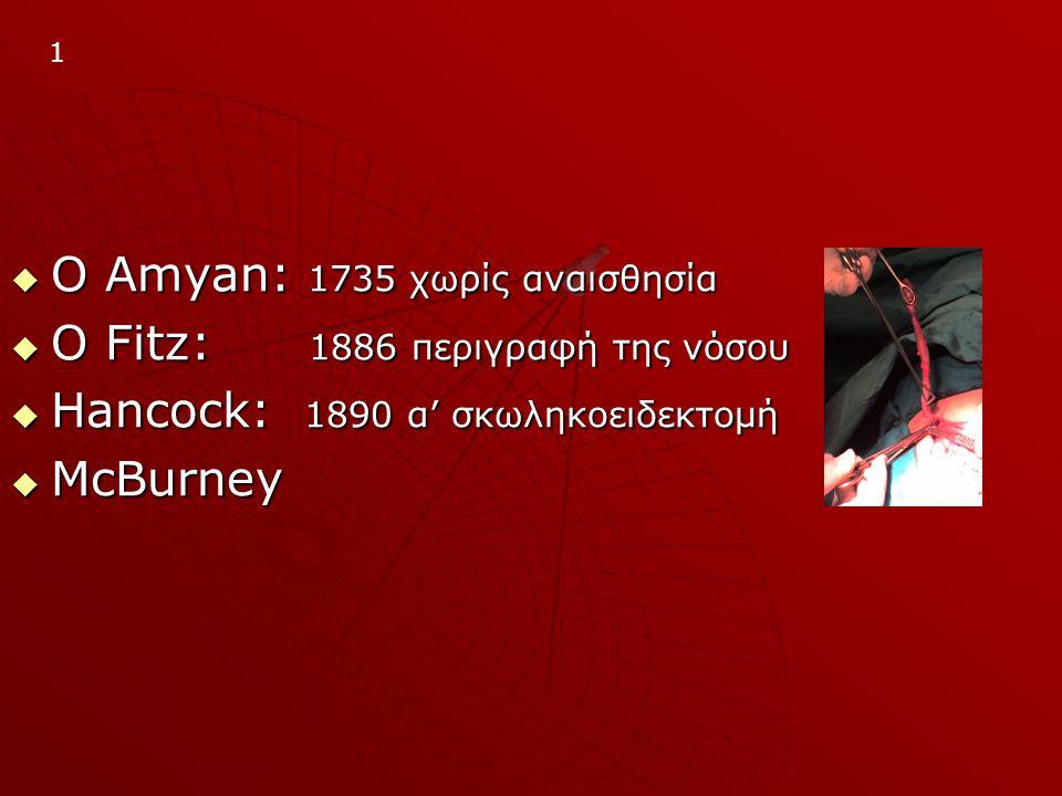 Ο Amyan: 1735 χωρίς αναισθησία Ο Fitz: 1886 περιγραφή της νόσου