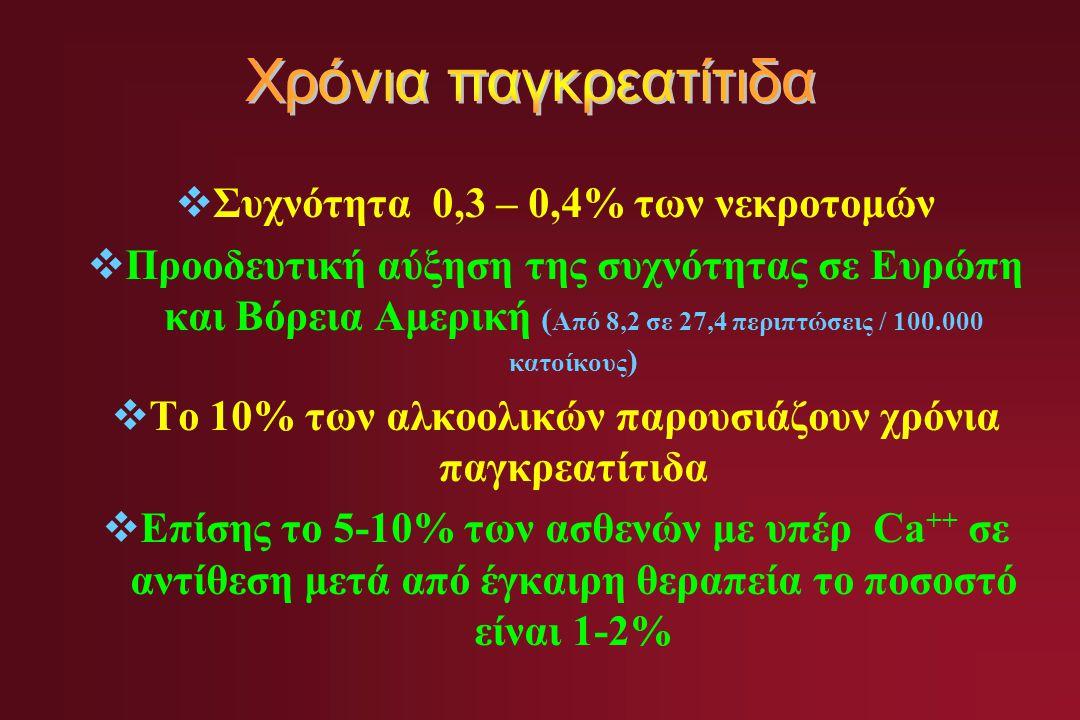 Χρόνια παγκρεατίτιδα Συχνότητα 0,3 – 0,4% των νεκροτομών