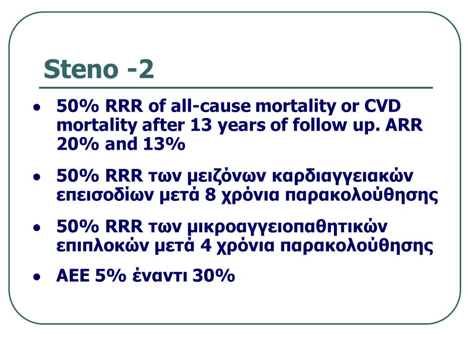 Steno -2 50% RRR of all-cause mortality or CVD mortality after 13 years of follow up. ARR 20% and 13%
