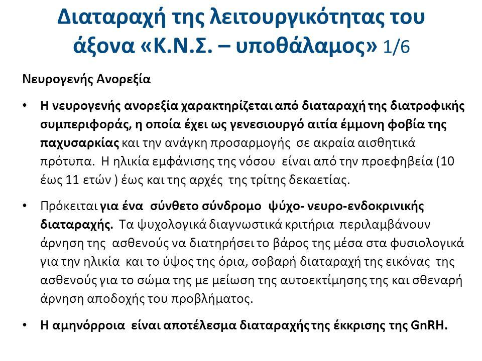 Διαταραχή της λειτουργικότητας του άξονα «Κ.Ν.Σ. – υποθάλαμος» 2/6