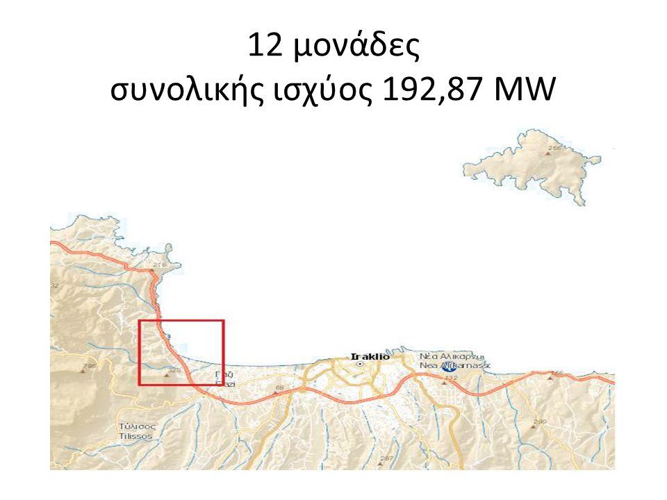 12 μονάδες συνολικής ισχύος 192,87 ΜW