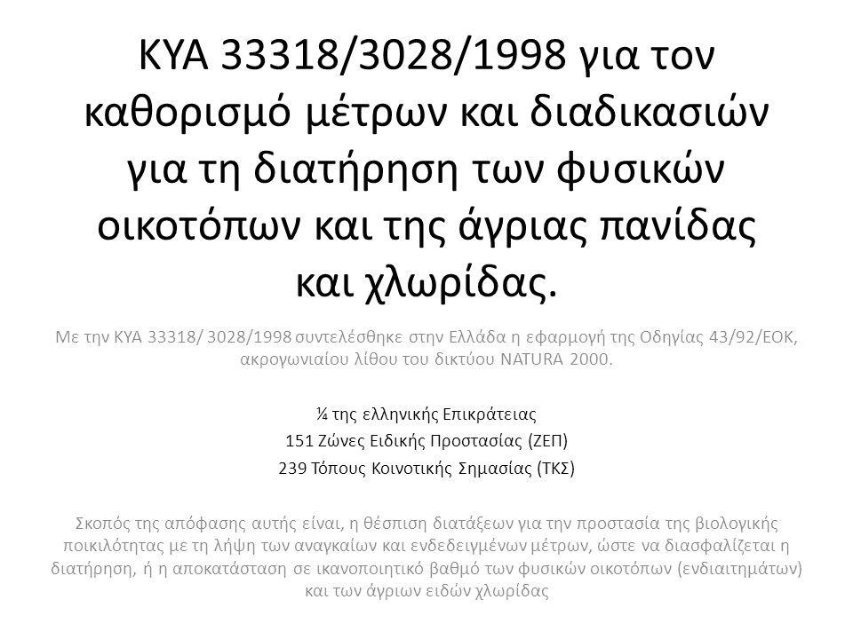 ΚΥΑ 33318/3028/1998 για τον καθορισμό μέτρων και διαδικασιών για τη διατήρηση των φυσικών οικοτόπων και της άγριας πανίδας και χλωρίδας.