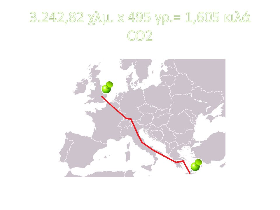 3.242,82 χλμ. x 495 γρ.= 1,605 κιλά CO2