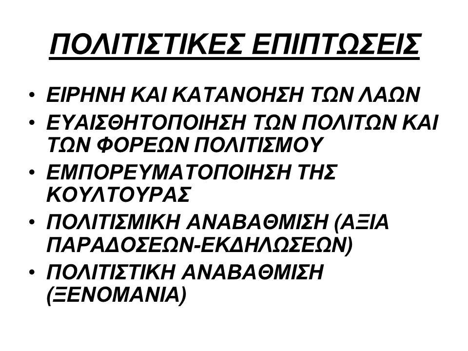 ΠΟΛΙΤΙΣΤΙΚΕΣ ΕΠΙΠΤΩΣΕΙΣ