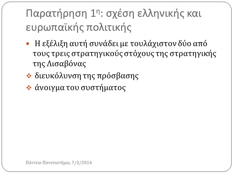 Παρατήρηση 1η: σχέση ελληνικής και ευρωπαϊκής πολιτικής