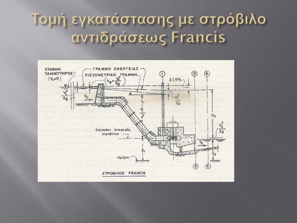 Τομή εγκατάστασης με στρόβιλο αντιδράσεως Francis