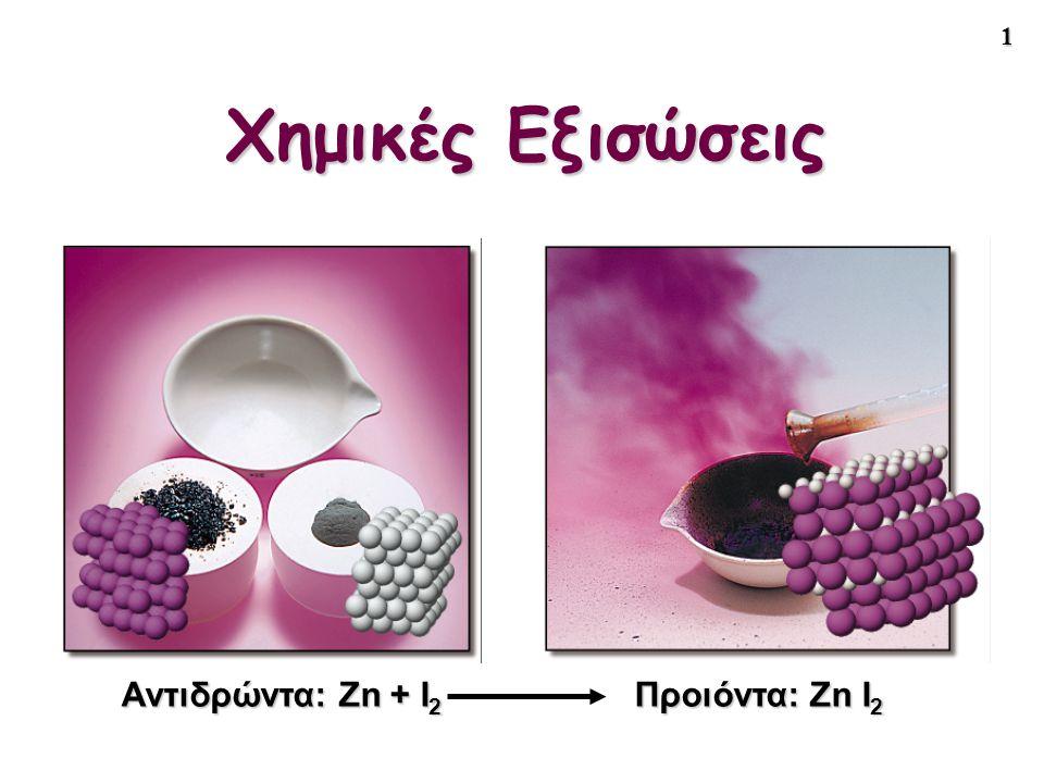 Χημικές Εξισώσεις Αντιδρώντα: Zn + I2 Προιόντα: Zn I2