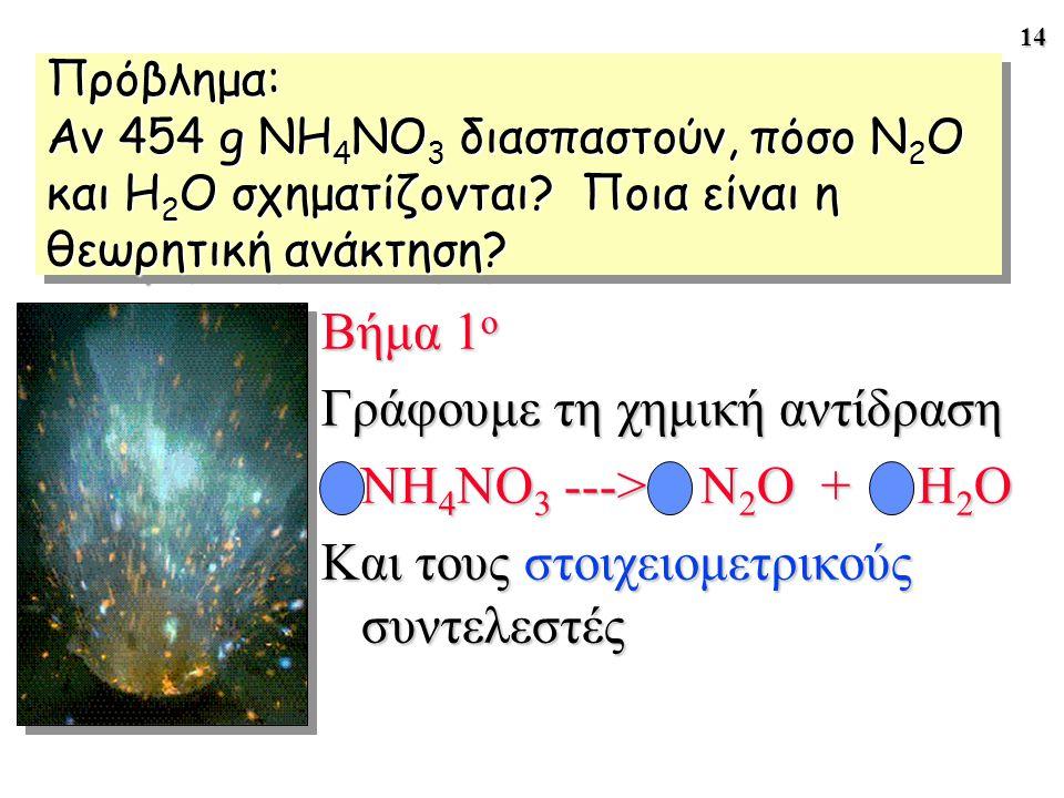 Γράφουμε τη χημική αντίδραση NH4NO3 ---> N2O + 2 H2O