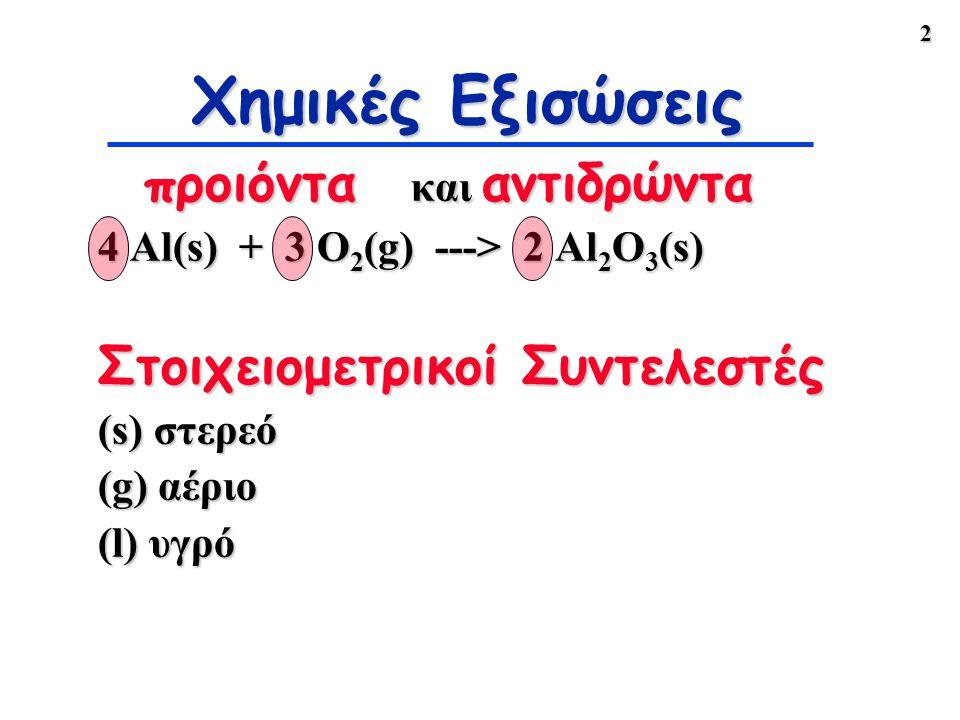 Χημικές Εξισώσεις προιόντα και αντιδρώντα Στοιχειομετρικοί Συντελεστές